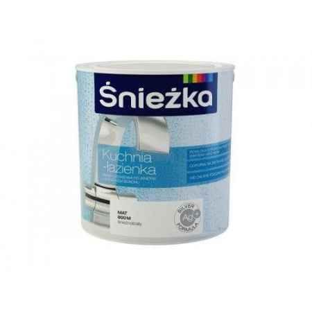 Купить Краска для стен и потолков с добавкой серебра биостатическая Кухня-Ванная 5 л., белая сатин Sniezka (Снежка)