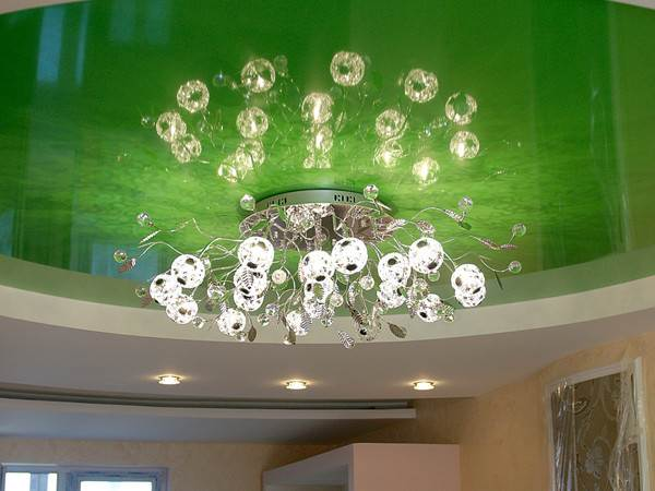 Как выбрать люстру для натяжного потолка