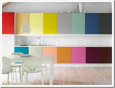 Выделение зон на кухне при помощи цвета стен
