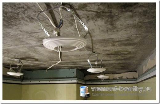Монтирование точечных светильников в натяжной потолок