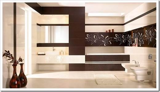 Интерьер ванной в коричневых тонах