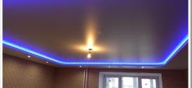 Как делается двухуровневый натяжной потолок с подсветкой